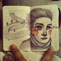 Mini moleskine drawing 1 by LadyOrlandoArt