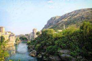 Mostar Bridge with the mountain view. by Horrendeus