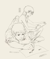 Drawing together - sketch by Mezamero