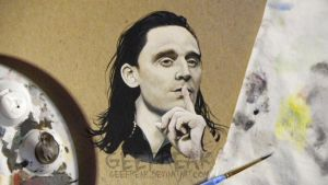 Loki Painting: SDCC2013 WIP by GeeFreak