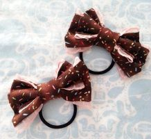 Choco Sprinkle Ribbon Hair Tie Set $15.00 by FoxyKitsuneko