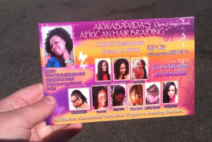 Post Card Ad African hair braiding by Hannele-Kahkonen