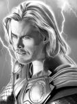 Thor with background by corysmithart