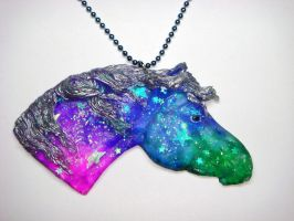Galaxy Horse Necklace by Ethereal-Beings