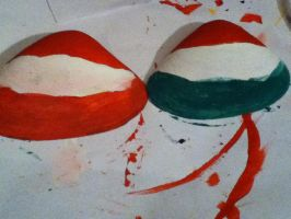 Austria and Hungary flag shells by lisabean