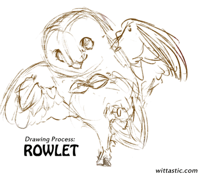 Drawing Process - Rowlet by Mewitti