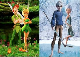 Jack Frost and Peter Pan with their Fairies by frozenrain22
