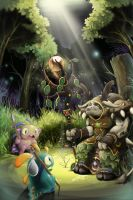 Tauren with murloc in forest by Reislet