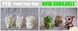 PYO - Cat-Owl, Dragon-Guy and Jackalope by LimitlessEndeavours