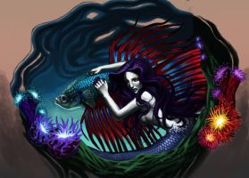 Siren and fighting fish by mic-silentviolence