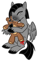 Valier Hugging a teddy bear by The-Clockwork-Crow