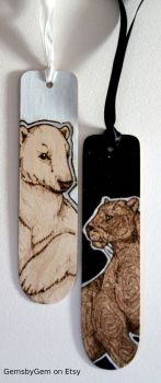 Black Panther and Polar Bear Bookmarks by BumbleBeeFairy