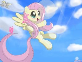 Fluttershy: Take to the Sky by 8BitAmy