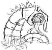 Sand Worm rough sketch by Heartless-Bowser