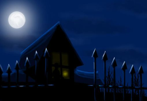 Old House under the moon by bakerofish