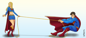 [C] Supergirl and Superman by roemesquita
