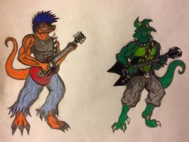 Killian and Axl Raise Hell (color WIP) by MetalAgamid