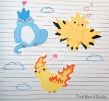 Chibi Articuno/Zapdos/Moltres Stickers and Magnets