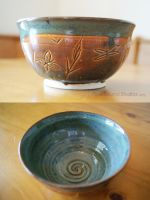Bronze Wetlands Themed Ceramic Bowl by ashynekosan