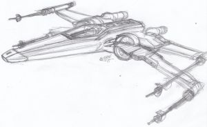Incom T-10 X-Wing Fighter Sketch by ConstantM0tion