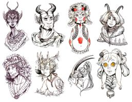 .:: Inktober 2014 - horned people ::. by Maiwenn