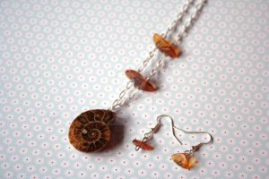 OOAK Antique Ammonite Fossil and Amber Beads Set by 1stQueenOfHalloween