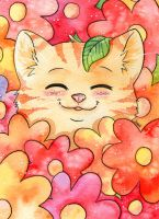 Kitten with Flowers by Yasuli