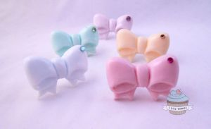Pastel Lolita Style Bow rings by ilikeshiniesfakery