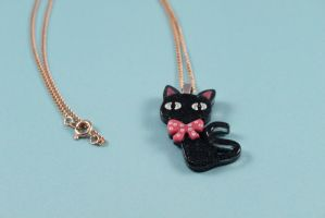 Black Kitty Cat Necklace by PeppermintPuff