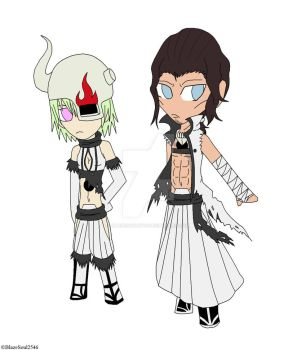 Chibi Lilynette and Starrk time skip looks by BlazeSoul2546