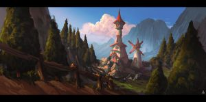 Animation themed matte painting concept by Aballom