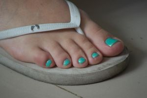 Smurfette's Toes in Teal 3 by Feetatjoes