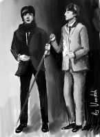 Paul McCartney and John Lennon by Vooodah
