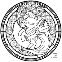 Stained Glass: Fluttershy -line art- by Akili-Amethyst