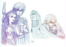 Persephone and Hades Sketches by LinaPrime