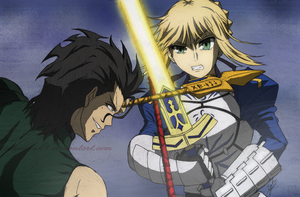 Lancer VS Saber (Colored) by Izham-ZK9