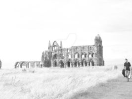 Whitby Abbey Black and White by NoxNoctisUmbra
