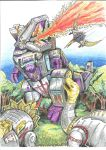 Dinobots Vs Trypticon colour by JoeTeanby