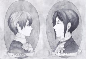 Ciel and Sebastian: old twin portraits. by Melkpso