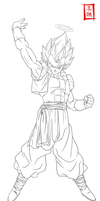 Ultimate Gogeta Lineart by SnaKou