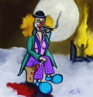 The clown and the supermoon by basscania