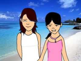 Larsa and I on the Beach by airbendergal