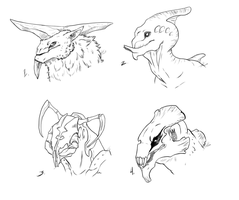 Non-humanoid Alien Head Sketches by Sunkaro