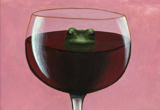 Frog in a glass of wine... by Rinoa10