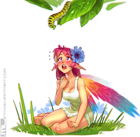 Erylia finds a caterpillar by MLeth