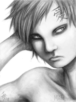 Tegaki portrait of Gaara by nocturnalMoTH