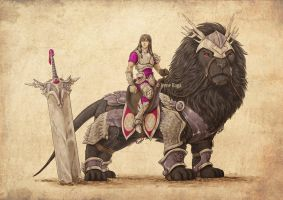 Warrior and his mount by IreneRoga