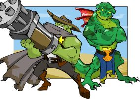 Ace Wylde and the Lizardman by chief-orc