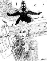 Cloud and Sephiroth by Eckilsax
