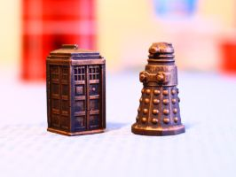 Bronze Tardis and Dalek Statues by FunkBlast